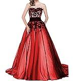 O.D.W Frauen Lange Formales Appliques Vintage Gotisch Brautkleider Mittelalterliches Hochzeitskleider Handgefertigt(Rot+Schwarz, 48)