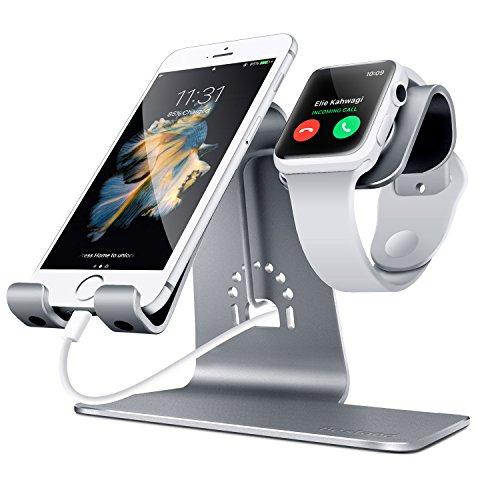 Bestand - Soporte Dual Móvil y Reloj, Aluminio Stand para Teléfonos/Apple Watch, BQ/ Sumsung / iPhone / iPad y Relojes – Gris