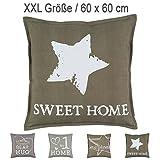 XXL-Canvas-Kissen mit RV und herausnehmbarer Füllung / Leinen / 60x60 cm / Deko-/Zierkissen / Sofakissen / olive-grün / sweet home
