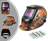 Leogreen - Einstellbarer Schweißhelm, Automatischer solarbetriebener Schweißhelm, with 3 Extra Lens, Feuermuster, Material: Kunststoff (PP, PE), Dunkelzustand: DIN9-13