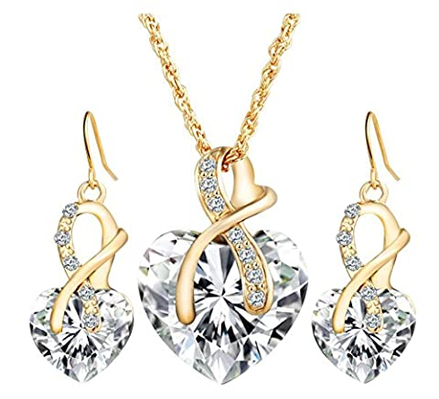 Lalang Rhinestone Necklace and Earrings Set Heart Necklace Pendants (white)