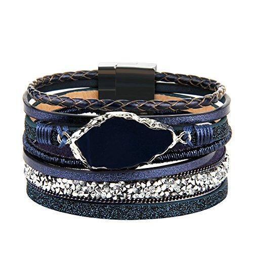 JOYMIAO Kristall Lederarmband Handmade Geflochtene mehrschichtige Wrap Armbänder Achat Stein Manschette Armreif für Frauen Mädchen Geschenk (Blau) (Manschetten-armbänder, Mädchen)