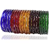 Zulka Glossy Multicolor Twisted Glass Kadaa/Bangle for Women & Girls(Pack of 20)
