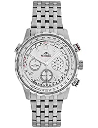 Rotary Men's Quartz Watch with White Dial Analogue Display and Silver Stainless Steel Bracelet GB00175/06