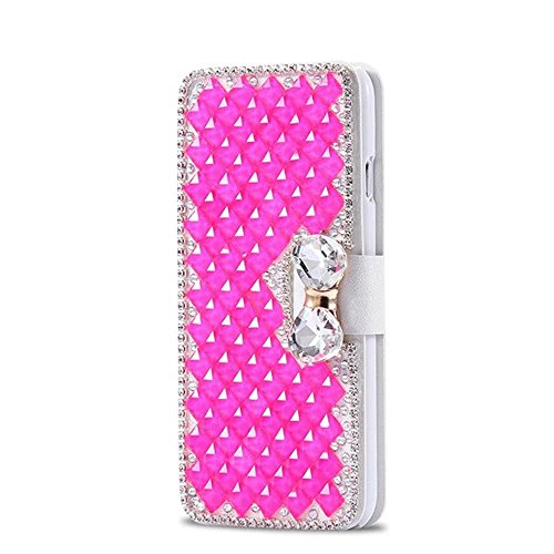 QianYang iPhone 8 Bling Coque iPhone 8 Etui Glitter Crystal Rhinestone Diamonds Clear Frame Housse pour iPhone 8 Case Cover pour IPhone 8 PU Cuir Hull cuir coque-Rose