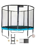 Kangui - Trampoline de jardin rond 305 cm + filet de sécurité + échelle + kit d'ancrage PUNCHI ATOLL 300