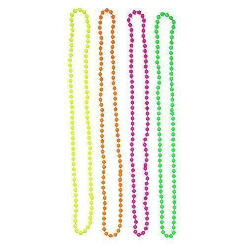 Set of 4 Multicolour Neon Fluorescent 80's Rave Bead Necklaces by Robelli
