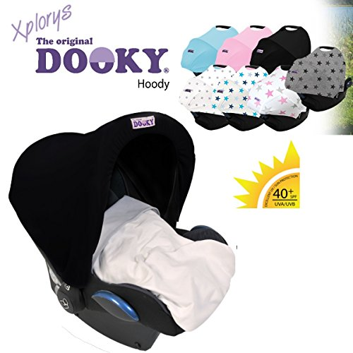 Original DOOKY HOODY ** Style UV+ ** Universal Verdeck / Dach für Maxi Cosi Cabrio / CabrioFix / Pebble / Citi, Römer und andere Babyschalen Gruppe 0+ als Sonnenschutz / Windschutz / SonnenDach / Sonnenverdeck (SCHWARZ)