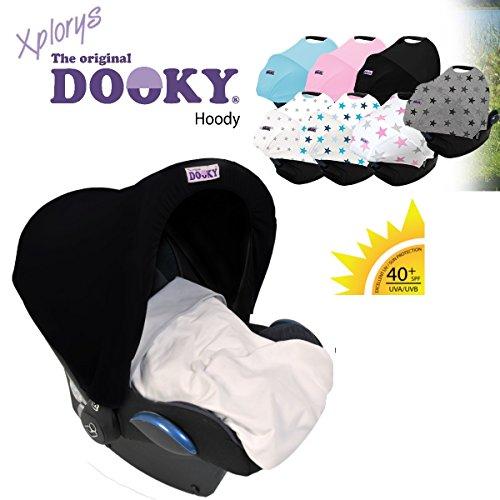 The Original Dooky Hoody Capota universal protectora contra rayos UV para silla de coche Maxi-Cosi (Citi, Pebble, Cabriofix, Cabrio, Römer, Cybex, etc.), color negro