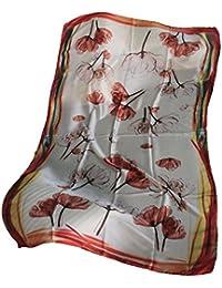FERETI Longue écharpe Foulard soie fleurs saumon Orange clair Multi couleur  polychrome 8d9724ceff9