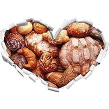Pane e panini a forma di cuore in formato adesivo aspetto 3D, parete o una porta: 62x43.5cm, autoadesivi della parete, decalcomanie della parete, decorazione della