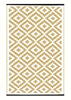 Nirvana Lightweight Indoor/ Outdoor Reversible Plastic Rug - Taupe / White- 3x5 ft (90 x 150cm) from Green Decore
