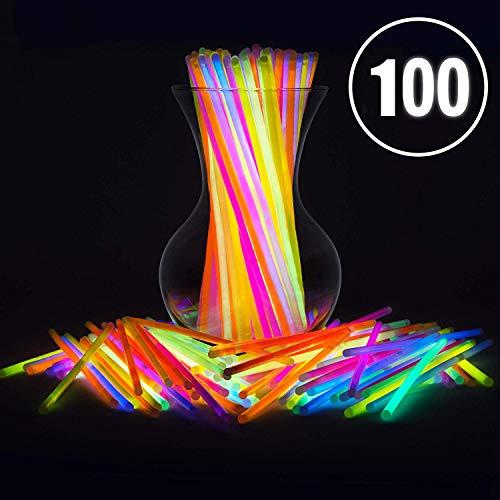HUANSI 100 STÜCKE Knicklichter Party Leuchten Sie Spielzeug Knicklichter Armbänder Halsketten Halsketten Neon Party Sticks Knicklichter und Verbinder Party Lieferungen (Glühen Halsketten Und Armbänder Bulk)