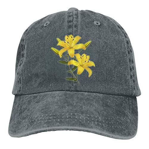 Kling Unisex Erwachsene Vintage Washed Baseball Cap Verstellbarer Papa Hut - gelbe Blumen schwarz