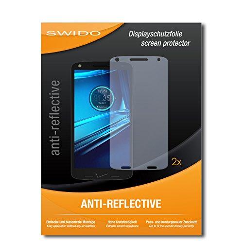 Schutzfolie für Motorola Droid Turbo 2 [2 Stück] SWIDO Anti-Reflex MATT Entspiegelnd, Hoher Härtegrad, Blasenfreie Montage, Schutz vor Öl, Staub, Fingerabdruck & Kratzer / Folie, Bildschirmschutz, Bildschirmschutzfolie, Panzerglas-Folie