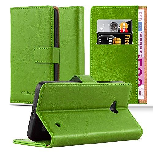 Preisvergleich Produktbild Cadorabo Hülle für Nokia Lumia 640 - Hülle in Gras GRÜN – Handyhülle im Luxury Design mit Kartenfach und Standfunktion - Case Cover Schutzhülle Etui Tasche Book