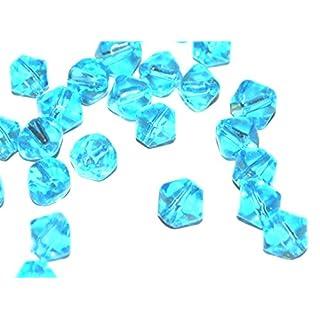 Markylis - 100 Plain Crystal Glass Coloured Jewellery Craft Bicone Beads - 4mm - Aqua Blue