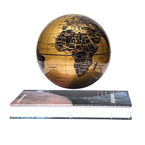 Woodlev Magnetic Maglev levitación Levitron flotante giratorio de 6 'globo de oro y azul libro estilo plataforma Lreaning educación decoración del hogar (oro)
