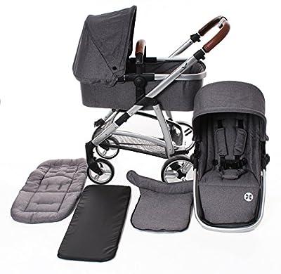 BABYBLUME MUSCA Kombikinderwagen Set mit Babywanne und Sportaufsatz, feststellbare Vorderräder, Wannenabdeckung