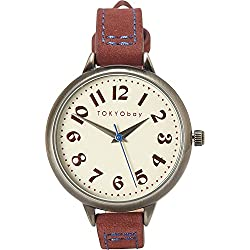 Tokyobay T360-RD Damen-Edelstahl-Lederband weißes Zifferblatt Watch