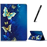 iPad Air Hülle,Slynmax Superleicht SchutzhülleAbdeckung Smart Case Tasche Golden Schmetterling Ultra SlimFlip Case Standfunktion für Apple iPad Air 2013 (Modellnummer A1474 A1475 A1476) Tablet Blau