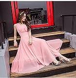 GUO Damen Boutique, Böhmische Chiffon-Kleid, Sommerkleid Langes Kleid Strandkleid,Rosa,XXXL