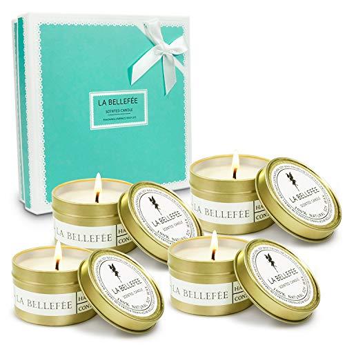 LA BELLEFÉE Coffret Bougies Parfumées à la Cire de Soja Naturelle Idée Cadeau pour Anniversaire Mariage et Décoration pour l'Intérieu