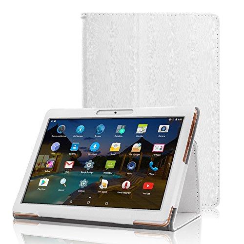 XIDO Slim Folio Hülle Case Tasche, Kompatibel für Yuntab 10.1 Zoll (K17 / K107) 3G Tablet / ACEPAD 10.1 Zoll (A140 / A121 / A101) / Artizlee 10.1 Zoll (ATL-31 / ATL-21X) / XIDO Tablet (Z120/3G / X110/3G) X111 (with Flash) Android 5.1 / BEISTA Tablet PC 10 Zoll / LNMBBS Tab 10 / Anteck 10 Zoll / Cewaal 10-Zoll-Tablets (Weiß)