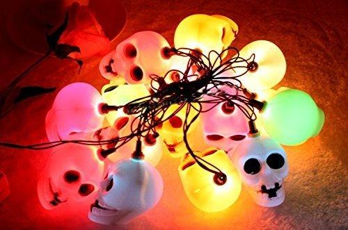 Skyllc Atrezzo Halloween cráneo dirige linterna decorativo