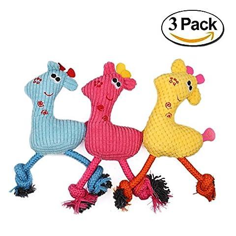 wangstar Jouet couineur pour chien jouet pour chien, chiot Jouet à mâcher, girafe jouet couineur en peluche, Lot de