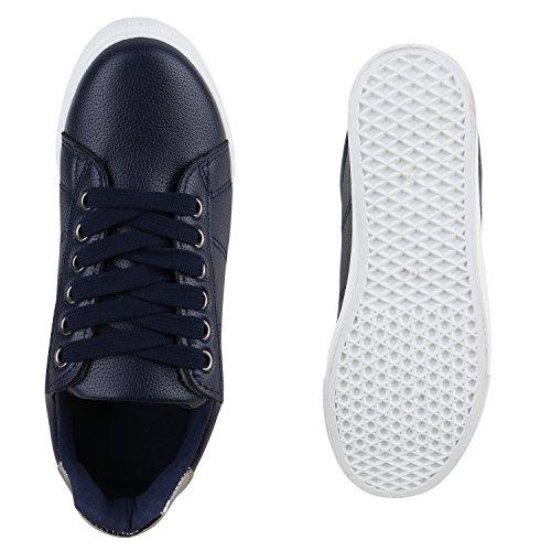 b7f23ba98131e2 ... Damen Sneakers Basic Sportschuhe Schnürer Lederoptik Schuhe Dunkelblau  Weiss Chrom