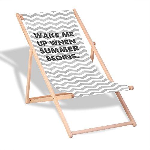 """Queence Dekorativer Holz-Liegestuhl   """"Summer Begins""""   klappbar   Gartenliege   Strandliege   Sonnenliege   Gartenmöbel   120x60 cm   Verschiedene Motive, Größe:ca. 120x60 cm"""