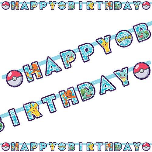 2,18m Partykette * Pokemon * als Deko für Kindergeburtstag und Mottoparty   Happy Birthday Girlande Letter Banner
