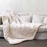 Beautyjourney 100 * 150 cm Main Chunky En Tricot De Laine éPaisse Couverture à Tricoter En Vrac Jeter Couverture Douce (Beige)