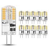 10 pezzi Lampadina LED G4 3.5W, Bianco Caldo 3000K, AC/DC 12V, Equivalente a 30W Lampada Alogena, 350LM, Angolo di visione 360°.
