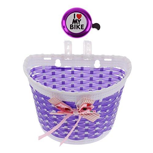 MagiDeal Kinder Fahrradkorb Vorne + Radfahren Klingel Hupe - Kinder Fahrrad Zubehör - Lila