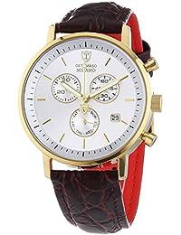 Detomaso Milano - Reloj de cuarzo para hombres, con correa de cuero de color marrón, esfera plateada