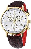 DETOMASO Herren-Armbanduhr Milano mit goldenem Edelstahlgehäuse und weißem Zifferblatt. Elegante Quarz Herren-Uhr mit braunem Leder-Armband