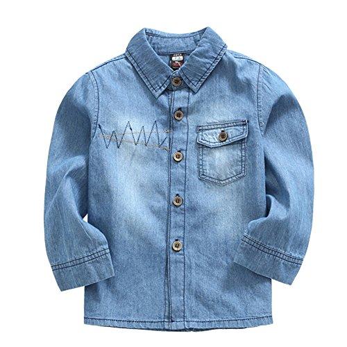 LSERVER LSERVER Jeanshemd Kinder Jungen Mädchen Bluse Langarmshirt Top Outdoor Wear,Blau,98