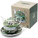 Granja vaca diseño China Tea-for-One Juego de tetera con tazas taza y platillo   diseñado por el artista Richard Macneil para The Leonardo Collection