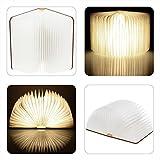 Große LED Buch lampe in Buch Form Holzbuch mit 2500 mAh Akku Lithium Nachttischlampe Nachtlicht dekorative Lampen Ölbildscheibe Papier + Holz Einband warmweiß Licht, Maße 22x3x17.5 cm