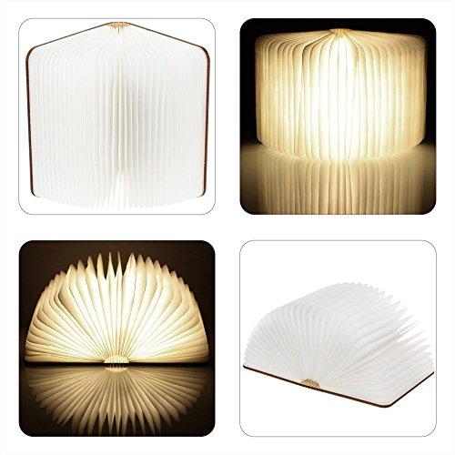 Dekorative Holz (LED Buch lampe in Buch Form Holzbuch mit 2500 mAh Akku Lithium Nachttischlampe Nachtlicht dekorative Lampen Ölbildscheibe Papier + Holz Einband warmweiß Licht)