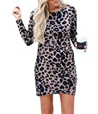 Frühling Herbst Damen Leopardenprint Minikleid Mode Rundhals Langarm Kleid Wickelkleider Sexy Etui Kleider Tunikakleid Cocktailkleid Partykleider, Dunkles Khaki, XL