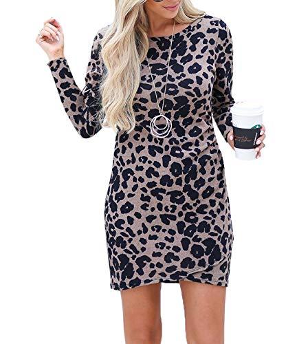 Frühling Herbst Damen Leopardenprint Minikleid Mode Rundhals Langarm Kleid Wickelkleider Sexy Etui...