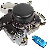 First2savvv negro Calidad premium Funda Cámara cuero de la PU cámara digital bolsa caso cubierta con correa para Panasonic Lumix DMC GF8 GF7 + Lector de tarjetas SD - XJD-GF8-HH01G10