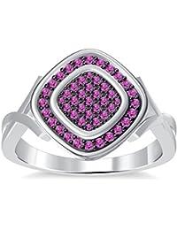 Silvernshine 14K White Gold PL 1.35ctt Round Cut Pink Sapphire Sim Diamond Women's Engagement Ring