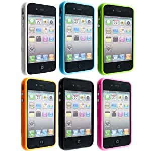 kwmobile 8in1 Set: 6x TPU Silikon Bumper Hülle für > Apple iPhone 4 / 4S < - Protection Rahmen Schutzhülle mit Aluknöpfen in schwarz, weiß etc. + 1x Folienset, kristallklar