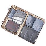 Organisateur de voyage ensemble, Voyage Essentials Sac 6 Pcs Étanche Mesh Sac de rangement Sac de rangement avec poches Zipper grande capacité Vêtements valise