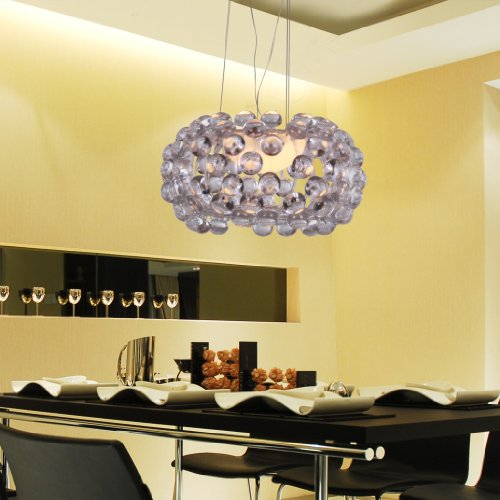 Unitary BRAND Modern Transparent Acrylic Caboche Pendant Light Max 100W With 1 Light Chrome Finish