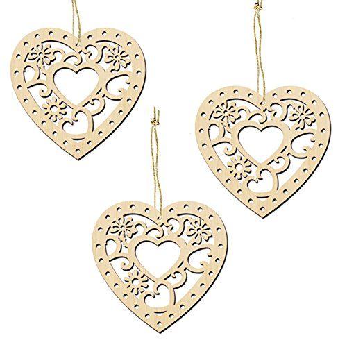 L-FENG-UK 10pcs Love Heart Shape Wooden Embellishments Crafts Party Hanging Ornament 8cm x 8cm